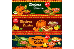 Mexican cuisine dishes with ingredient banner