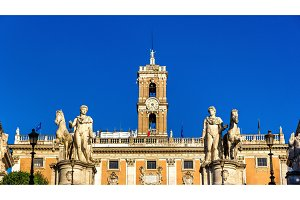 Statues of Dioscures on the Capitoline Hill in Rome