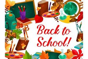 Back to School vector autumn study season poster