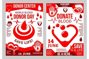 Donation blood poster for World Donor Day design