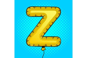 Air balloon in shape of letter Y pop art vector