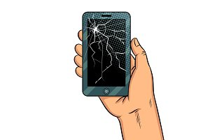 Smart phone and broken screen pop art vector