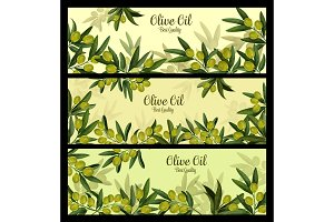 Green olive branch banner for natural oil label