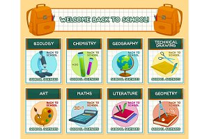 Back to School vector lesson science posters