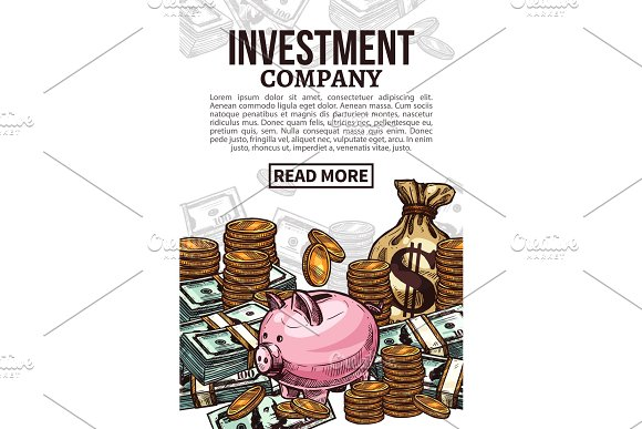 Investment Poster With Money Or Cash Currency