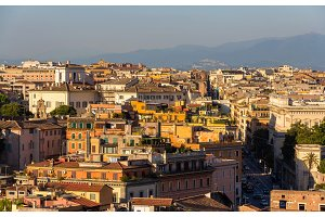 Evening panorama of Rome, Italy