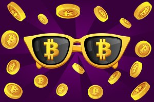 Gold glasses with the symbol bitcoin and cryptocurrency coin
