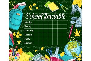 School timetable sketch banner on green chalkboard