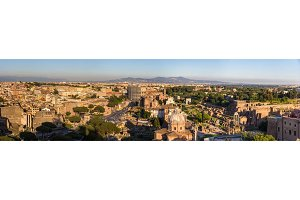 Panorama of historic center of Rome, Italy