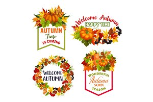 Autumn Welcome Fall vector leaf acorn icons