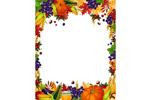 Autumn vector acorn leaf, pumpkin harvest poster