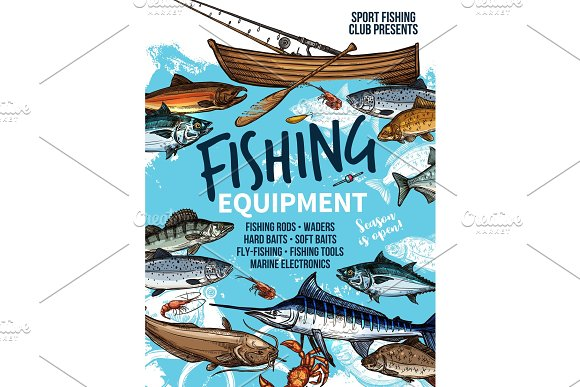 Fishing Equipment Banner With Fish Rod And Boat