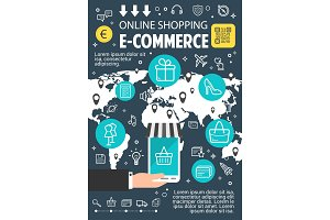 Online shopping flat banner for e-commerce design