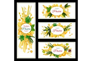 Pasta with spices banner for italian food design