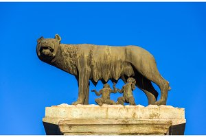 Capitoline Wolf statue in Rome, Italy