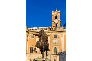 Equestrian Statue of Marcus Aurelius and Palazzo Senatorio in Ro