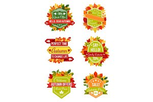 Autumn sale label and fall promotion badge set