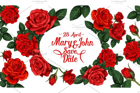 Save The Date Wedding Card With Red Rose Flower