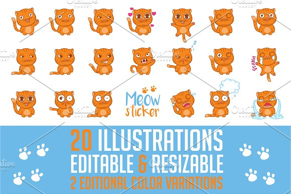 Funny Cat Stickers Prints