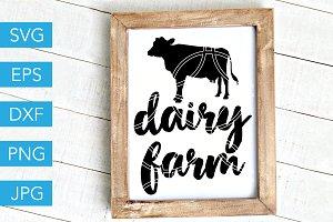 Dairy Farm SVG Cow Farmer SVG
