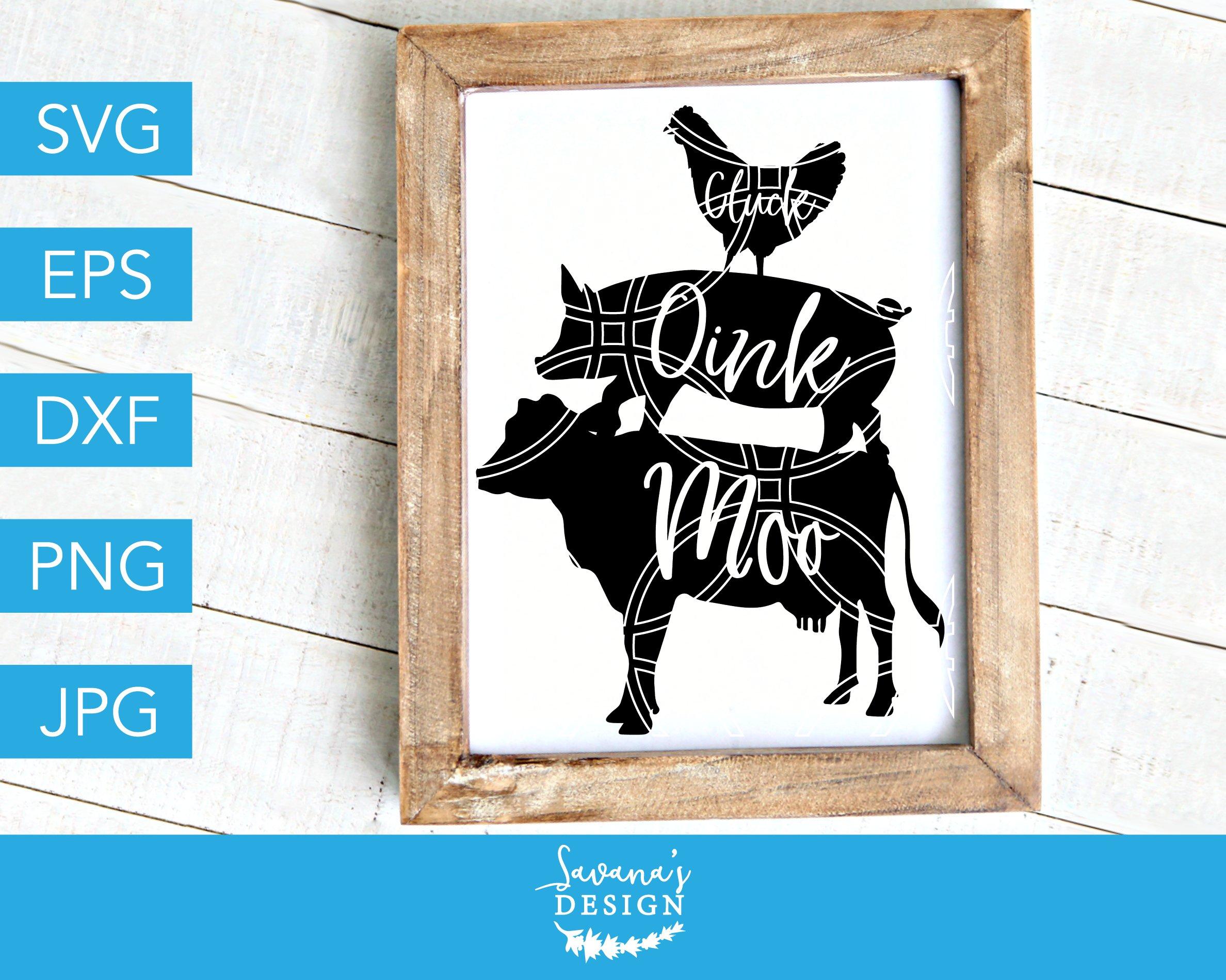 Oink Cluck Moo Svg Farm Svg Pre Designed Vector Graphics Creative Market
