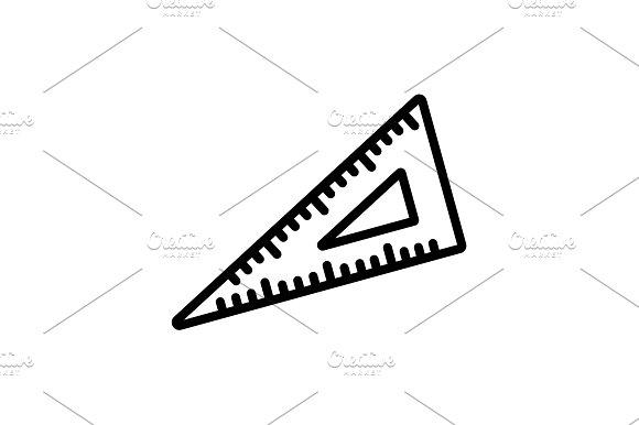 Web Line Icon Triangle Ruler Black