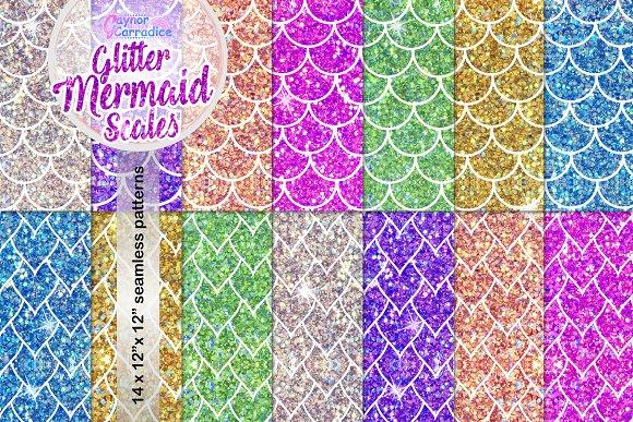glitter mermaid scales pattern set illustrations creative market