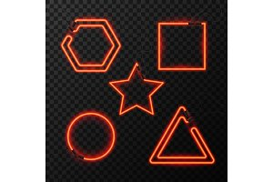 Glowing Neon effect abstract triangle, star, square and circle. Night club or bar concept on dark background. editable vector. Glowing frame. Vintage electric symbol.