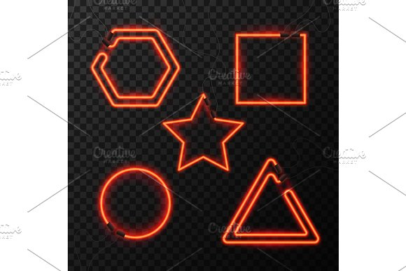 Glowing Neon Effect Abstract Triangle Star Square And Circle Night Club Or Bar Concept On Dark Background Editable Vector Glowing Frame Vintage Electric Symbol