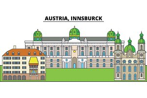 Austria, Innsburck. City skyline, architecture, buildings, streets, silhouette, landscape, panorama, landmarks. Editable strokes. Flat design line vector illustration concept. Isolated icons