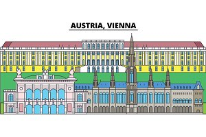 Austria, Vienna. City skyline, architecture, buildings, streets, silhouette, landscape, panorama, landmarks. Editable strokes. Flat design line vector illustration concept. Isolated icons