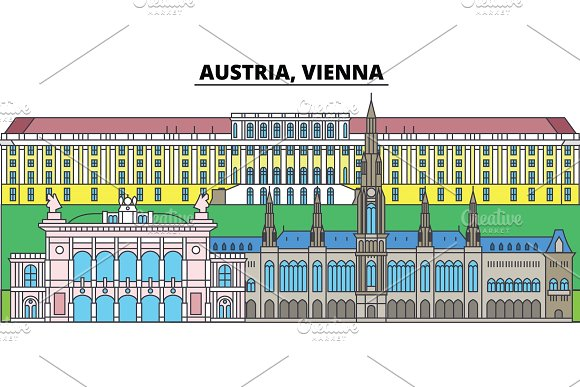 Austria Vienna City Skyline Architecture Buildings Streets Silhouette Landscape Panorama Landmarks Editable Strokes Flat Design Line Vector Illustration Concept Isolated Icons