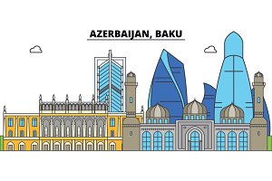 Azerbaijan, Baku. City skyline, architecture, buildings, streets, silhouette, landscape, panorama, landmarks. Editable strokes. Flat design line vector illustration concept. Isolated icons