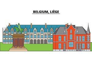 Belgium, Liege. City skyline, architecture, buildings, streets, silhouette, landscape, panorama, landmarks. Editable strokes. Flat design line vector illustration concept. Isolated icons