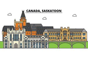 Canada, Saskatoon. City skyline, architecture, buildings, streets, silhouette, landscape, panorama, landmarks. Editable strokes. Flat design line vector illustration concept. Isolated icons