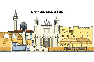 Cyprus, Limassol. City skyline, architecture, buildings, streets, silhouette, landscape, panorama, landmarks. Editable strokes. Flat design line vector illustration concept. Isolated icons