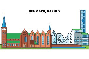Denmark, Aarhus. City skyline, architecture, buildings, streets, silhouette, landscape, panorama, landmarks. Editable strokes. Flat design line vector illustration concept. Isolated icons