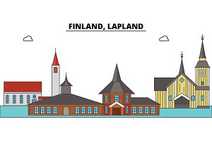 Finland, Lapland. City skyline, architecture, buildings, streets, silhouette, landscape, panorama, landmarks. Editable strokes. Flat design line vector illustration concept. Isolated icons