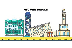 Georgia, Batumi. City skyline, architecture, buildings, streets, silhouette, landscape, panorama, landmarks. Editable strokes. Flat design line vector illustration concept. Isolated icons