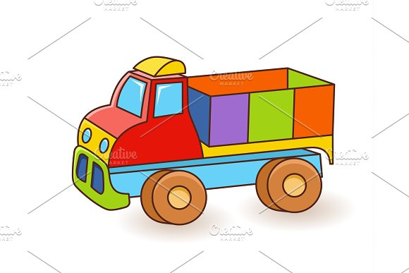 Toy Truck Flash Card Kids Wall Art First Word Flashcard Playroom Decor Colorful Toy Truck Cartoon Clipart Eps 10 Illustration Isolated On White Background