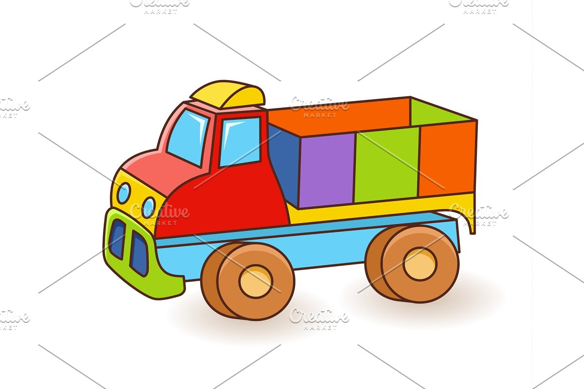 Toy Truck flash card Kids Wall Art First word flashcard