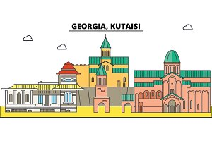 Georgia, Kutaisi. City skyline, architecture, buildings, streets, silhouette, landscape, panorama, landmarks. Editable strokes. Flat design line vector illustration concept. Isolated icons