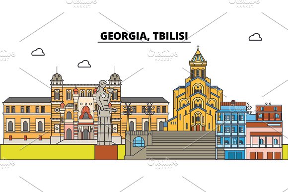 Georgia, Tbilisi. City skyline, architecture, buildings, streets, silhouette, landscape, panorama, landmarks. Editable strokes. Flat design line vector illustration concept. Isolated icons