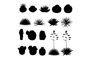 Black silhouettes of round cacti and blue agave. Vector collection