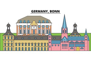 Germany, Bonn. City skyline, architecture, buildings, streets, silhouette, landscape, panorama, landmarks. Editable strokes. Flat design line vector illustration concept. Isolated icons