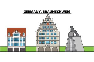 Germany, Braunschweig. City skyline, architecture, buildings, streets, silhouette, landscape, panorama, landmarks. Editable strokes. Flat design line vector illustration concept. Isolated icons