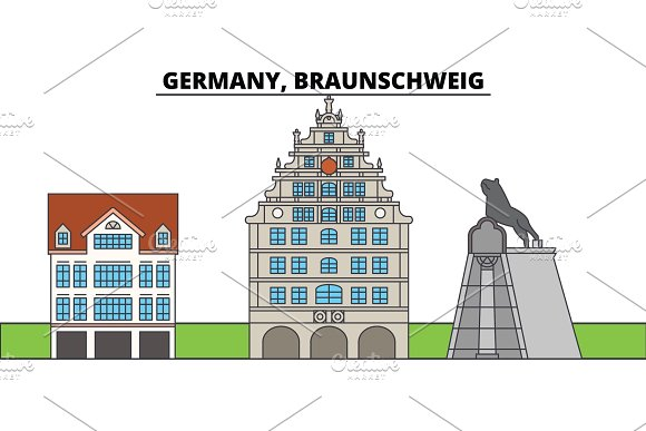 Germany Braunschweig City Skyline Architecture Buildings Streets Silhouette Landscape Panorama Landmarks Editable Strokes Flat Design Line Vector Illustration Concept Isolated Icons