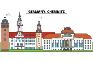 Germany, Chemnitz. City skyline, architecture, buildings, streets, silhouette, landscape, panorama, landmarks. Editable strokes. Flat design line vector illustration concept. Isolated icons