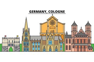 Germany, Cologne. City skyline, architecture, buildings, streets, silhouette, landscape, panorama, landmarks. Editable strokes. Flat design line vector illustration concept. Isolated icons