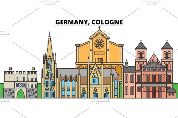 Germany Cologne City Skyline Architecture Buildings Streets Silhouette Landscape Panorama Landmarks Editable Strokes Flat Design Line Vector Illustration Concept Isolated Icons